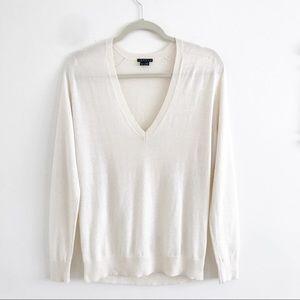 THEORY Adrianna Cotton Cashmere V neck Sweater S